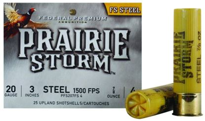 Picture of Federal PFS207FS4 Prairie Storm - FS Steel Shotshell 20 GA, 3 in, No. 4, 7/8oz, 3.86 Dr, 1500 fps, 25 Rnd per Box