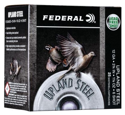 "Picture of Federal USH12 6 Upland Steel Shotshell, 12 Gauge, 2-3/4"", 1-1/8oz, #6, 1400fps, 25 Rounds Per Box"