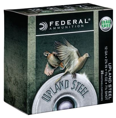 "Picture of Federal USH12 7.5 Upland Steel Shotshell, 12 Gauge, 2-3/4"", 1-1/8oz, #7.5, 1400fps, 25 Rounds Per Box"