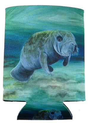 Picture of Marine Sports 4914MAN Manatee Kan-Tastic Seascape Insulated Can / Bottle Kooler and Holder Full Color Print 3 Sides