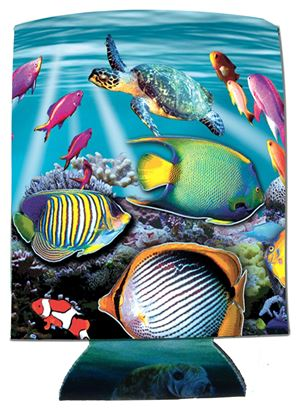 Picture of Marine Sports 4914REE Reef Scene Kan-Tastic Seascape Insulated Can / Bottle Kooler and Holder Full Color Print 3 Sides