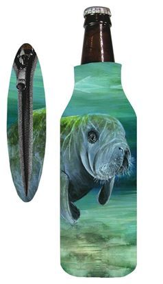 Picture of Marine Sports 4915MAN Manatee Zipper Bottle Coolie Seascape Insulated Can / Bottle Kooler and Holder 4 Color Process