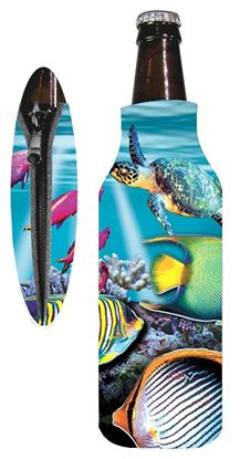 Picture of Marine Sports 4915REE Reef Scene Zipper Bottle Coolie Seascape Insulated Can / Bottle Kooler and Holder 4 Color Process