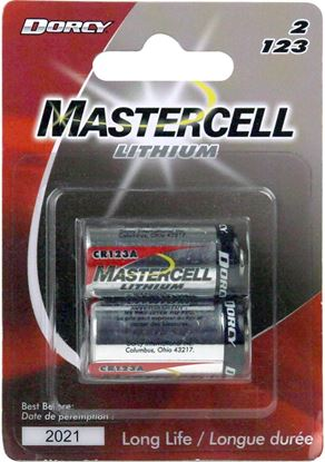 Picture of Dorcy 41-4108 Mastercell 2 Pack Lithium Coin Batteries 123A 3 Volts