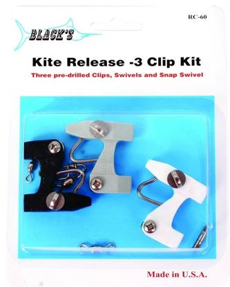 Picture of Black Marine RC60 Kite Release Clip Kit/Black w/3 pre-drilled clips #5,#7 Swivels & Snap Swivels