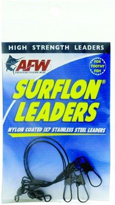 Picture of AFW E020BL06/3 Surflon Leaders, Nylon Coated 1x7 Stainless, Sleeve, Swivel, LockSnap, 20 lb (9 kg) test, Black, 6 in (15.2 cm) 3 pc