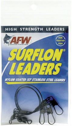 Picture of AFW E030BL06/3 Surflon Leaders, Nylon Coated 1x7 Stainless, Sleeve, Swivel, LockSnap, 30 lb (14 kg) test, Black, 6 in (15.2 cm) 3 pc