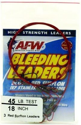 Picture of AFW E020REDL12/3 Bleeding Leaders, Nylon Coated 1x7 Stainless, DuoLockSnap, 20lb (9kg) test, .024in (0.61mm) dia, Red, 12in 3 pc