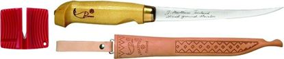 """Picture of Rapala BPFNF7SH1 Fish 'N Fillet Knife, 7-1/2"""" Stainless Blade, Birch Handle, Sharpener, Leather Sheath"""