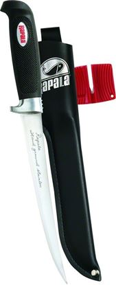 """Picture of Rapala BP707SH1 Soft Grip Fillet Knife, 7-1/2"""" Stainless Blade, w/Sharpener & Sheath"""