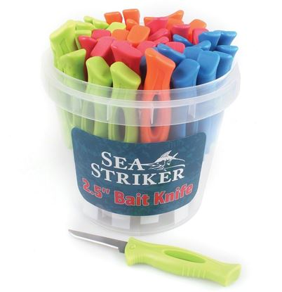 """Picture of Sea Striker SSBK25-48 2.5"""" Bait Knives, 48 pc Bucket Display, Assorted Colors"""