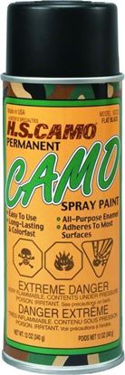 Picture of Hunters Specialties 00323 Permanent Camo Spray Paint 12oz Flat Baclk