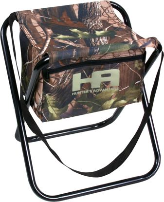 Picture of HQ Outfitters DS-1006 Folding Camo Stool with Storage Pocket 19mm Frame