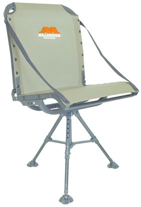 """Picture of Millennium G-100 Ground Blind Chair, Swiveling, Aluminum, 13"""" - 18"""" Height, Folding, Olive Drab"""