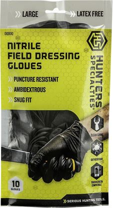 Picture of Hunters Specialties 100047 Nitrile Field Dressing Gloves, Size Large, 10 Pack