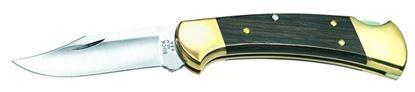 "Picture of Buck 0112BRS Ranger Folding Lockback Knife, 3"" 420HC Satin SS Blade, Leather Sheath, Box"