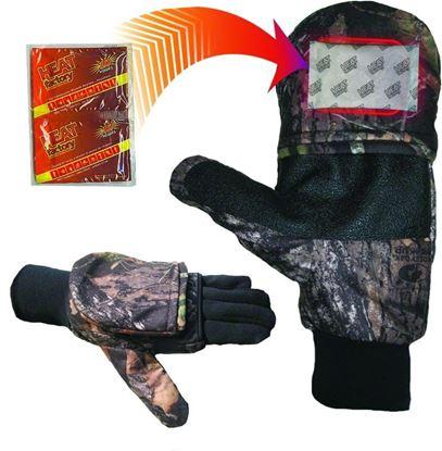 Picture of Heat Factory 991-MO-L Heated Pop Top Fold Back Mitten, Pr, Mossy Oak W/Liner, Large