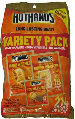 Picture of HotHands HM07019VP Variety Pack 21 Total Warmers 5 hand,5 body, 3 Toe Packs
