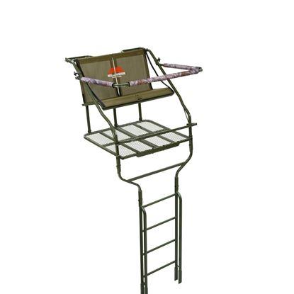 Picture of Millennium L-220-SL 18' Double Ladder Stand, w/Large Platform, Safe-Link Safety Line, Padded Shooting Rail, Folding Footrest