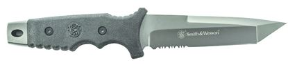 """Picture of Smith & Wesson SW7S Full Tang Fixed Blade Knife, 5.2"""" Partially Serrated Tanto Blade, PPE Handle, Belt Sheath"""