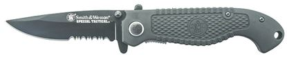 """Picture of Smith & Wesson CKTACBSD Special Tactical Liner Lock Folding Knife, Black, 3.5"""" Partially Serrated Drop Point Blade, Index Flipper, Pocket Clip"""