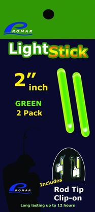 """Picture of Promar GS-120G 2"""" Light Glow Stick - Green, 2 pack (Rop Tip Clip-On) 50pc Display"""