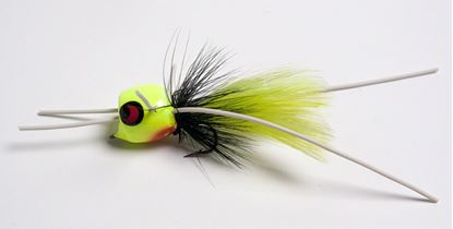 Picture of Betts 401-8-5 Marathon Wiggle Popper Fly Popper, Sz 8, Chartreuse/Black/Chartreuse, Floating