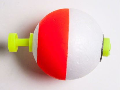 """Picture of Billy Boy B125W-50RW Weighted Round Foam Float Snap-On 50Bg 1-1/4"""" Red/Wht"""